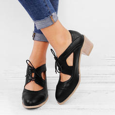 Women's PU Chunky Heel Sandals With Lace-up shoes