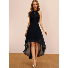 Lace/Solid Sleeveless A-line Asymmetrical Party Dresses