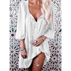 Solid 3/4 Sleeves Shift Above Knee Little Black/Casual/Vacation Tunic Dresses