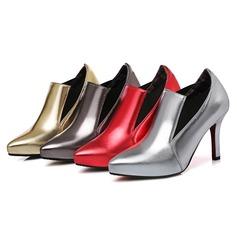 Frauen Kunstleder Stöckel Absatz Stiefelette Schuhe