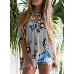 Print Floral Cold Shoulder 1/2 Sleeves Casual Knit Blouses