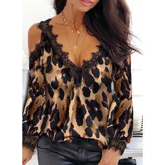 Δαντέλα леопард Ανοιχτός Ώμος Μακρυμάνικο Καθημερινό Блузи