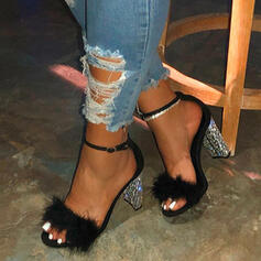 Women's Fabric Chunky Heel Sandals Peep Toe With Buckle Faux-Fur shoes