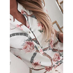 Print Stand collar Long Sleeves Casual Blouses
