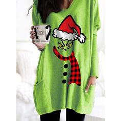 Print Grid Lommer rund hals Lange ærmer Jule sweatshirt