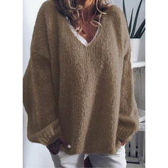 Solid Chunky knit V-Neck Oversized Casual Sweaters