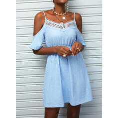 Lace/Solid 1/2 Sleeves A-line Above Knee Casual Skater Dresses