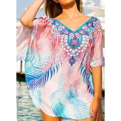 Floral V-Neck Elegant Cover-ups Swimsuits
