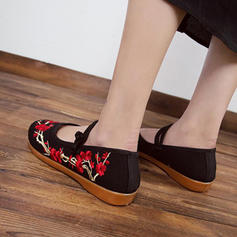 Tecido Sem salto Sem salto com Flor sapatos