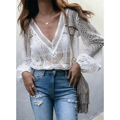 Lace V-Neck Lantern Sleeve Long Sleeves Casual Blouses