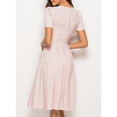 PolkaDot Short Sleeves A-line Knee Length Casual/Elegant Dresses
