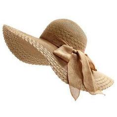 Dames Raphia paille avec Bowknot Chapeaux de plage / soleil