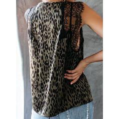 Estampado Animal Encaje Cuello en V Sin mangas Casual Camisetas sin mangas