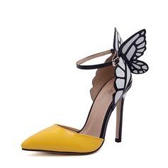 Dla kobiet PU Obcas Stiletto Sandały Czólenka Zakryte Palce Z Kokarda Zdobiony Obcas obuwie