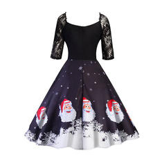 Lace/Print 1/2 Sleeves A-line Knee Length Vintage/Christmas/Party/Elegant Dresses