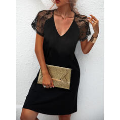 Solid Lace Short Sleeves A-line Knee Length Little Black/Casual Skater Dresses