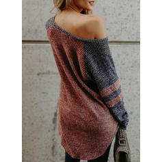 Color Block One-Shoulder Long Sleeves Casual Sexy Knit Blouses