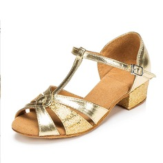 Women's Latin Sandals Pumps Sparkling Glitter With T-Strap Buckle Hollow-out Latin