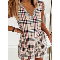 Sequins/Plaid Sleeveless Shift Above Knee Elegant Dresses