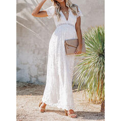 Koronka/Jednolita Krótkie rękawy W kształcie litery A Łyżwiaż Elegancki Maxi Sukienki