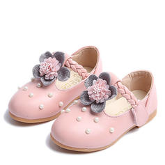 Girl's Leatherette Flat Heel Round Toe Closed Toe Flats Flower Girl Shoes With Flower Pearl