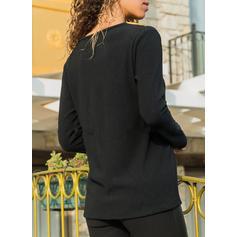 Print Color Block V-Neck Long Sleeves Casual Knit T-shirts