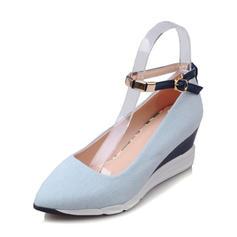 Women's Denim Wedge Heel Closed Toe Wedges With Buckle shoes
