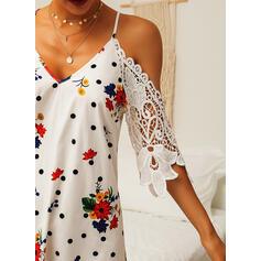 Encaje/Impresión/Floral/Lunares Mangas 1/2 Tendencia Sobre la Rodilla Casual Vestidos