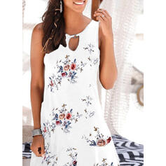 Print/Floral Sleeveless Sheath Above Knee Casual/Vacation Dresses