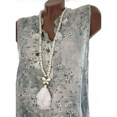 Print Floral Sequins V-Neck Sleeveless Casual Tank Tops