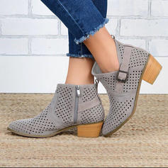 Women's PU Chunky Heel Boots With Buckle Zipper shoes