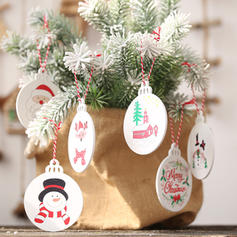 Merry Christmas Snowman Reindeer Santa Hanging Wooden Christmas Pendant Tree Hanging Ornaments (Set of 6)