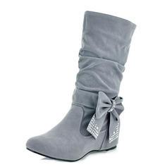 Women's Leatherette Flat Heel Flats Closed Toe Boots Mid-Calf Boots shoes