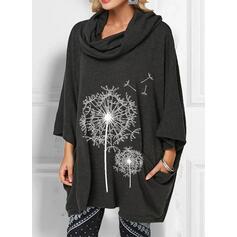 Print Dandelion 3/4 Sleeves Casual Blouses
