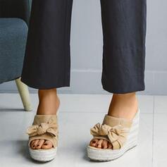 Bayanlar Süet Sivri topuk platform Takozlar Peep Toe Ile İlmek ayakkabı