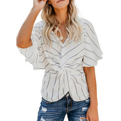 Striped V Neck 1/2 Sleeves Casual Blouses
