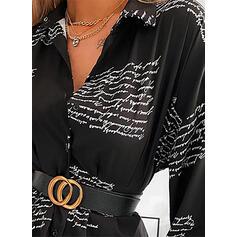 Print Long Sleeves Sheath Above Knee Casual Shirt Dresses
