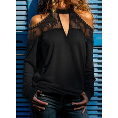 Solid Lace Cold Shoulder Long Sleeves Casual Sexy Blouses