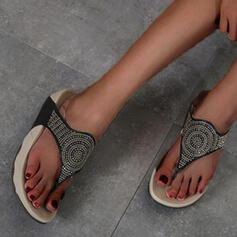 Femmes PU Talon plat Sandales À bout ouvert Tongs Chaussons avec Strass chaussures