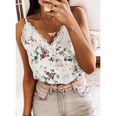 Floral Lace Print Spaghetti Straps Sleeveless Tank Tops