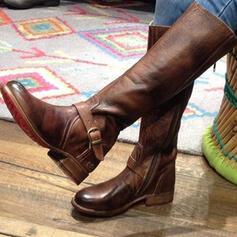 Női PU Lapos sarok Lakások Zárt lábujj Csizma Térdig érő csizmák -Val Cipzár cipő
