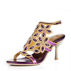 Mulheres Couro Salto agulha Peep toe Bombas Sandálias Sapatos abertos com Fivela Strass