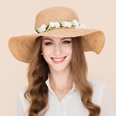 Ladies' Beautiful Rattan Straw With Silk Flower Beach/Sun Hats