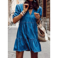 Solid 1/2 Sleeves Shift Above Knee Casual/Denim Tunic Dresses