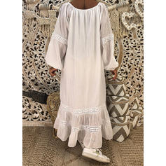 Solid Long Sleeves Shift Casual/Boho/Vacation Maxi Dresses