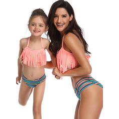 Mommy and Me Striped Print Matching Swimsuit