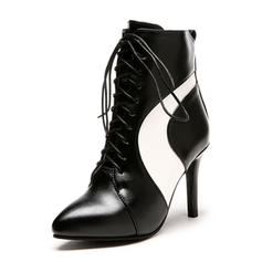 Women's Leatherette Stiletto Heel Pumps Closed Toe Boots Ankle Boots Mid-Calf Boots Martin Boots Riding Boots With Lace-up shoes