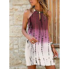 Tie Dye Sleeveless Shift Above Knee Casual Tank Dresses