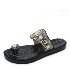 Women's Leatherette Flat Heel Sandals Flats Peep Toe Slingbacks With Rhinestone shoes