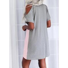 Bloc de Couleur Manches Courtes manche épaule froide Coupe droite Au-dessus Du Genou Décontractée Tunique Robes